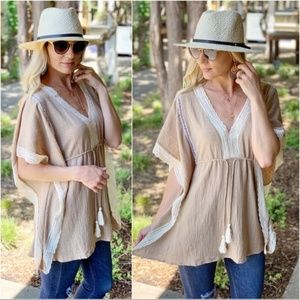 Mocha Lace Trim Tunic